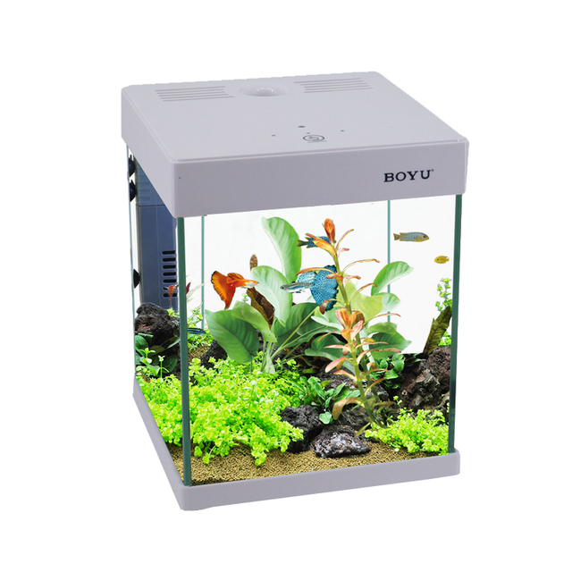 Smart touch colored square goldfish filter desktop for Square fish tank
