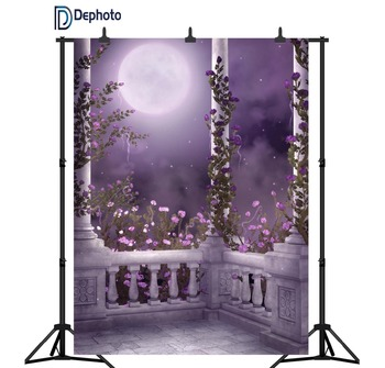 DePhoto Photographic Backgrounds Vintage Archway Pillar Pink flower Moon Tree Night Scenic Backdrops For Photo Studio Camera