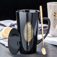 Neue Gold Blatt Keramik Becher Büro Kaffee Becher Set Milch Tee Tassen Kreative Palm Herz Ananas Frühstück Hause Drink Kid der Geschenk|Tassen|   -
