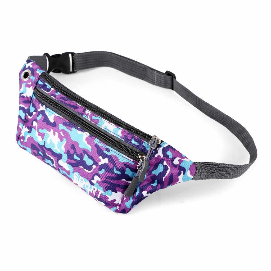 女性男性ファニーパックウエストバッグ屋外防水機能迷彩デュアルポケットランニングベルト胸バッグボルサ cintura homem