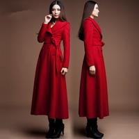 2019 Winter Spring accept custom Women Cashmere Wool Warm Trench Noble Sashes Slim Long Maxi Coat Female jacket