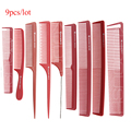 Red Color Hairdressing Cut Comb in 9 Piece Design Set, Barber Tail Comb For Hair Cutting, Haircut Comb V-97 In Durable Material
