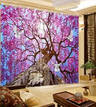 Cherry tree 3D Curtains Used for Living Room bedroom Japanese-style blackout curtains window cortains(China)