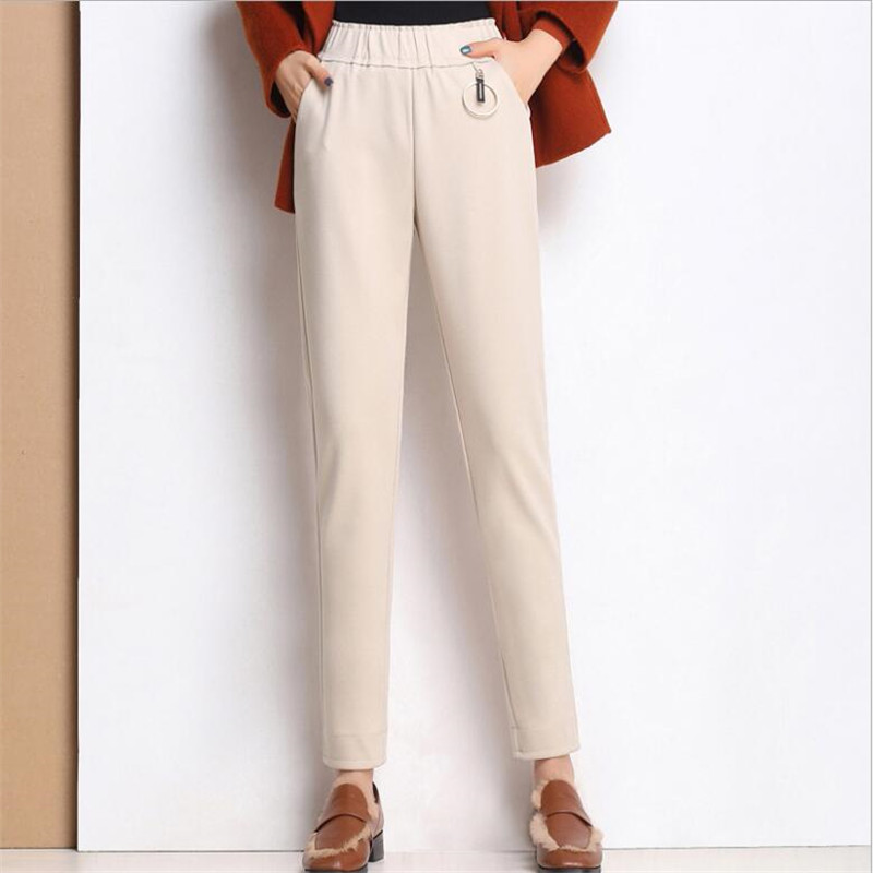2019 Winter Causal pants capris women elastic high waist cotton thicken Warm Plus size Warm skinny pencil pants female trousers