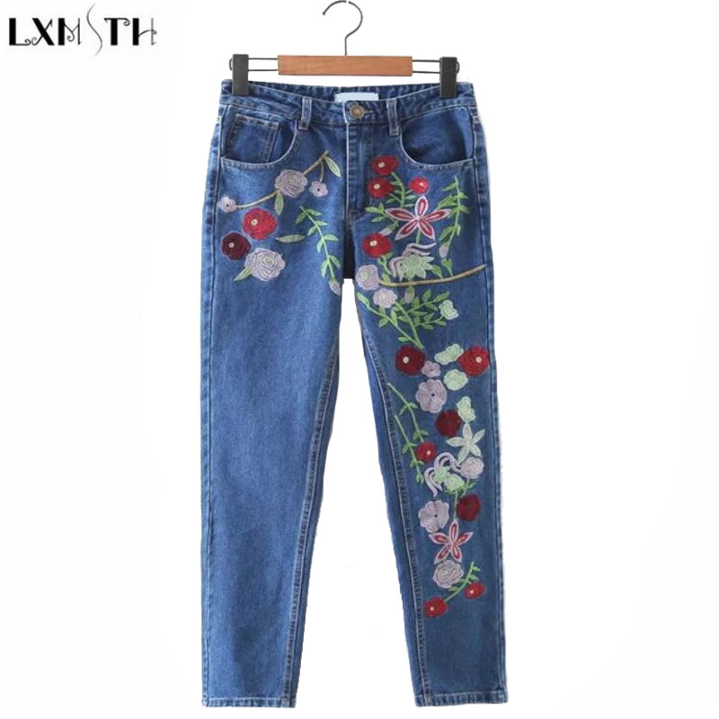 LXMSTH Autumn Pants Women 2017 Fashion Slim Embroidery jeans With Flowers Washing Female High Waist jeans Woman Pants Casual a three dimensional embroidery of flowers trees and fruits chinese embroidery handmade art design book