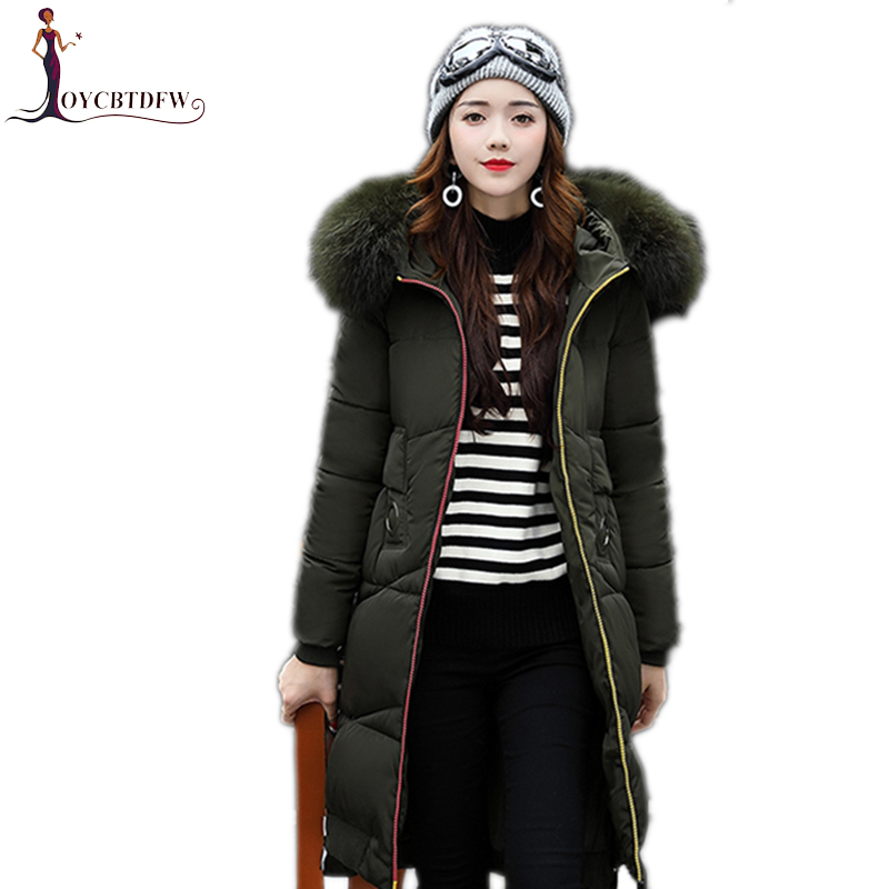 Winter women outerwear 2017 new solid color female coat mid-long Fur collar overcoat Thickening hooded warm woman Parkas wy008 women winter coat leisure big yards hooded fur collar jacket thick warm cotton parkas new style female students overcoat ok238