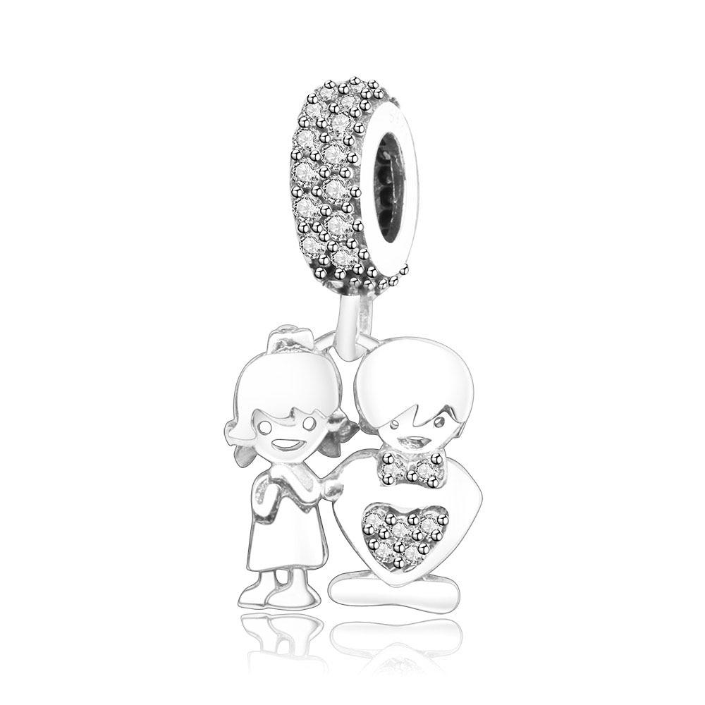 Подходит браслет Pandora Подвески из стерлингового серебра 925 пробы мальчик талисман для девушки Подвеска-бусы DIY ювелирных изделий дизайн Berloque - Цвет: boy girl
