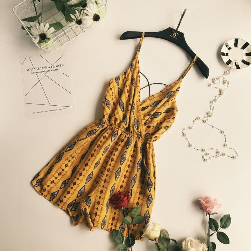 Summer Seaside Vacation V-neck Cross Belt Backless Chiffon Bodysuit Women Fashion Sexy Print Beach Jumpsuit Womens Clothes