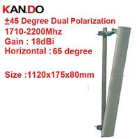 18dbi Dual Polarization 65 Degree 1710 2200Mhz Panel Antenna DCS 3G Antenna Base Station Use LTE