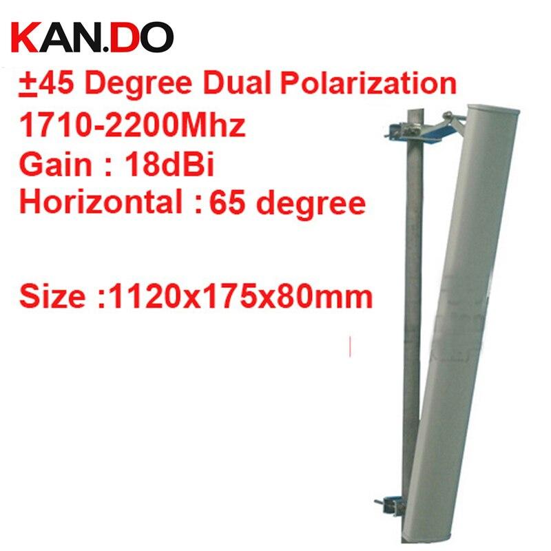 18dbi + 45 &-45 degrés double polarisation 1.71g-2.2 Ghz antenne DCS 3G antenne Base station utilisation LTE FDD antenne TDD 4G LTE