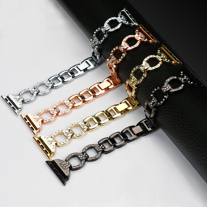 38-42mm Watch Strap For Apple Series Metal SteeL Crystal Diamond Wrist Chain Watch Band For Apple Watch Series 1 2 3 Watchband for apple watch series 4 wrist bracelet luxury metal mechanical chain watch band strap for apple watch series 1 2 3 38mm 42mm