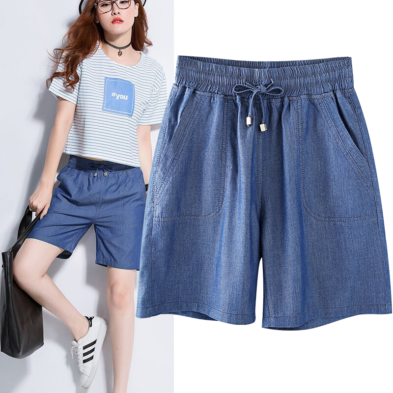 Pants Ladies Summer Women Thin Plus Size 5XL Loose Korean Wide Leg Elastic Waist Leisure Tencel Denim Shorts Trousers MZ1666 plus size pants the spring new jeans pants suspenders ladies denim trousers elastic braces bib overalls for women dungarees