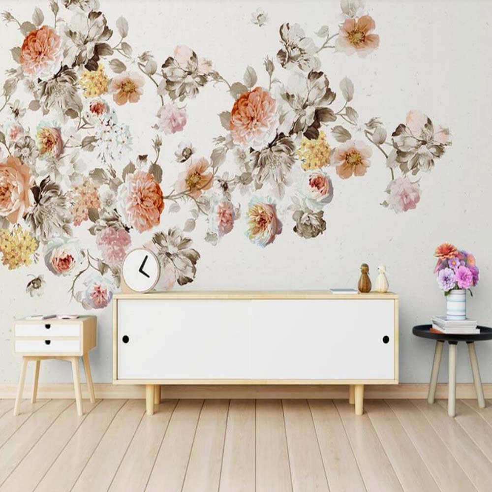 Vintage Hand Painting Rose Floral Wallpaper Mural Wall Murals Wall