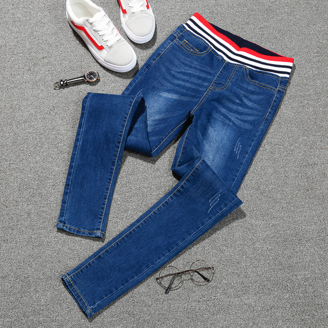 2018 Autumn Jeans Women Large Code High Waist Denim Pants High Elastic Skinny Pencil Stretch Women