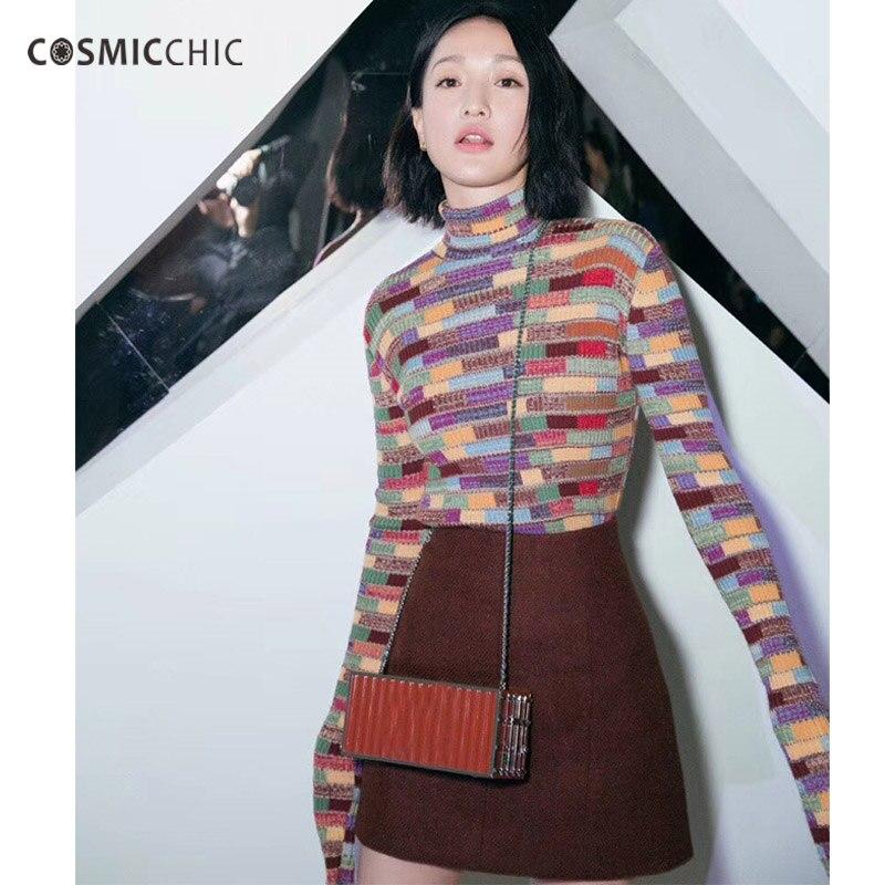 Cosmicchic Для женщин трикотажные Свитер с воротником Шерсть пуловеры взлетно посадочной полосы моды одежда с длинным рукавом мозаика пуловеры