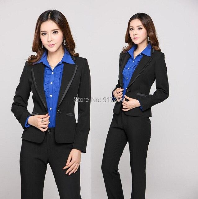 351a70198a1f 2015 nueva otoño invierno moda delgado profesional carrera de negocios  pantalones trajes uniformes traje de ropa de trabajo fijar más el tamaño  XXXL ...
