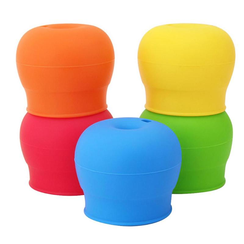 Baby Spill-proof Glass Cup Cover Kids Drinking Training Leak-proof Sippy Lids Stretchable Silicone Straw Cup Covers Drink Access