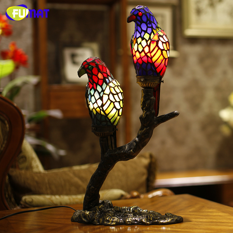 FUMAT Two parrots Table Lamp Creative Art Glass Birds Lamp For Living Room Pastoral Stand LED Wrought Iron Base Table Lights