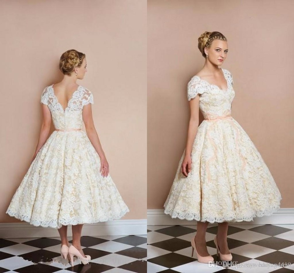 2017 50s Style Retro Vintage Wedding Dresses Full Lace A