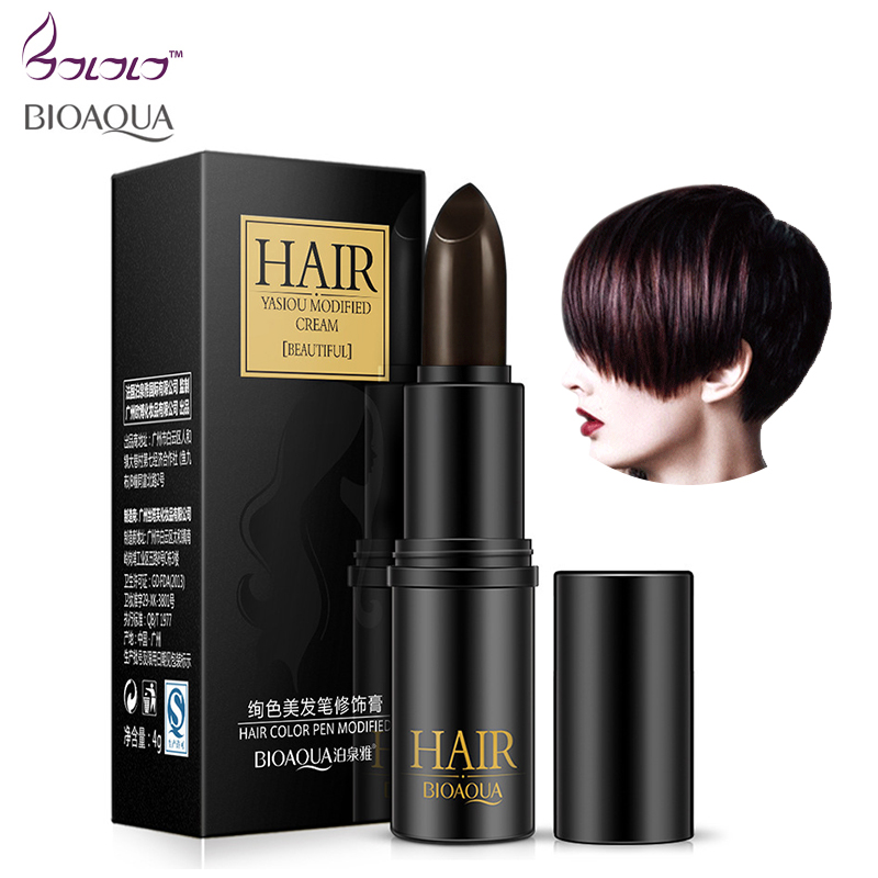 BIOAQUA Brand Hair Color Pen Temporary Black Brown Mild Fast One-off Hair Dye Cream Cover White Hair DIY Styling Makeup Stick