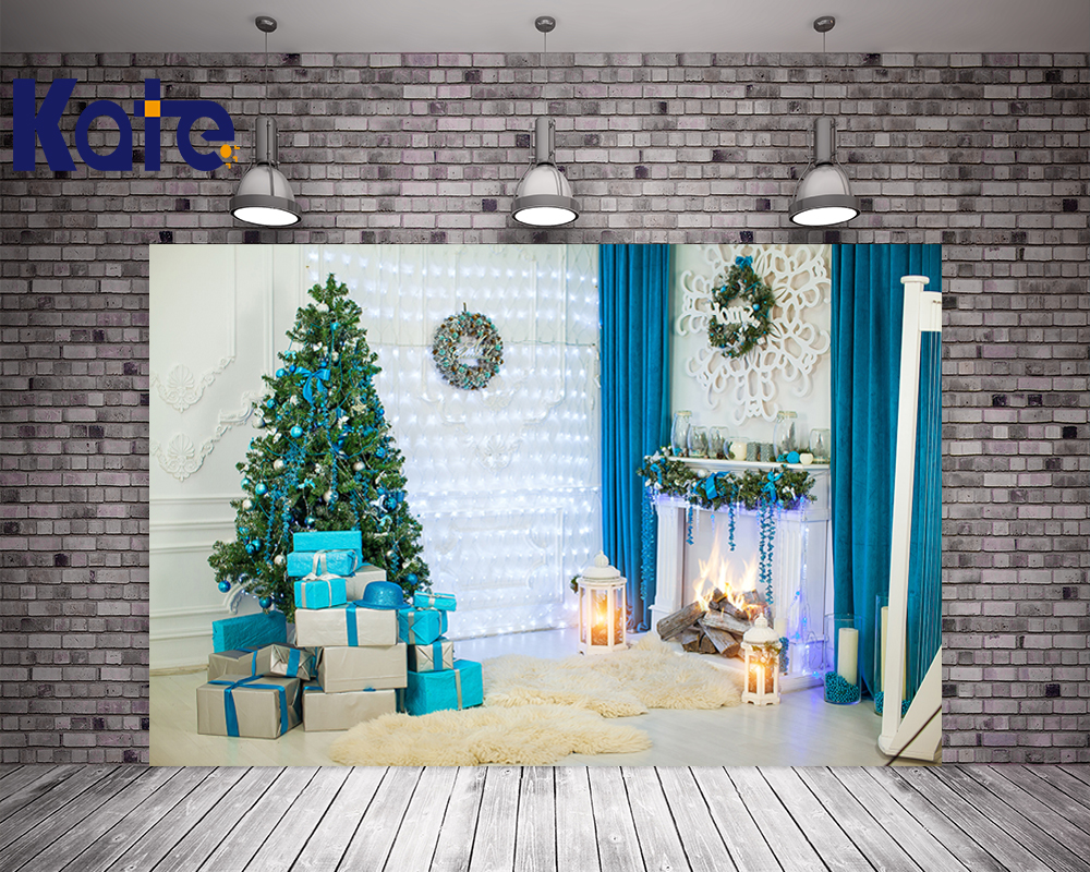 Indoor Fireplace Christmas Tree Photography Background: Kate Indoor Christmas Photography Backdrops With Trees Box