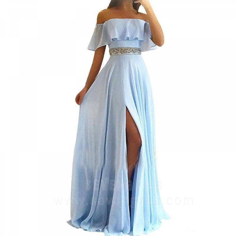 Simple Light blue Long Chiffon   Prom     dresses   A line with split Off the shoulder   Prom     dresses   for women Elegant evening gowns