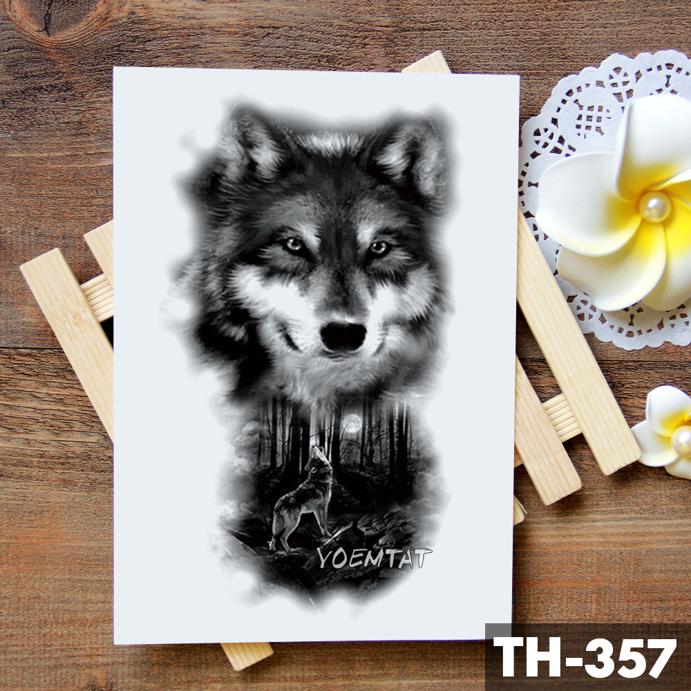 Tribal Wolf Moon Pine Tree Temporary Tattoo Sticker Fox Waterproof Tattoos Forest Body Art Arm Fake Tatoo Men Women 4