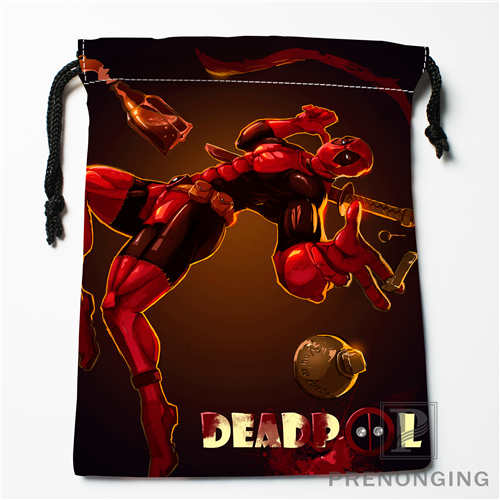 Custom Deadpool Cartoon Drawstring Bags Printing Fashion Travel Storage Mini Pouch Swim Hiking Toy Bag Size 18x22cm #171208-12