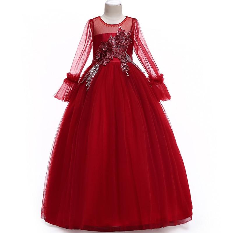 Flower     girl   embroidered jacquard wedding with children's   dress   temperament,   flower     girl   Santa cake dinner party   dress