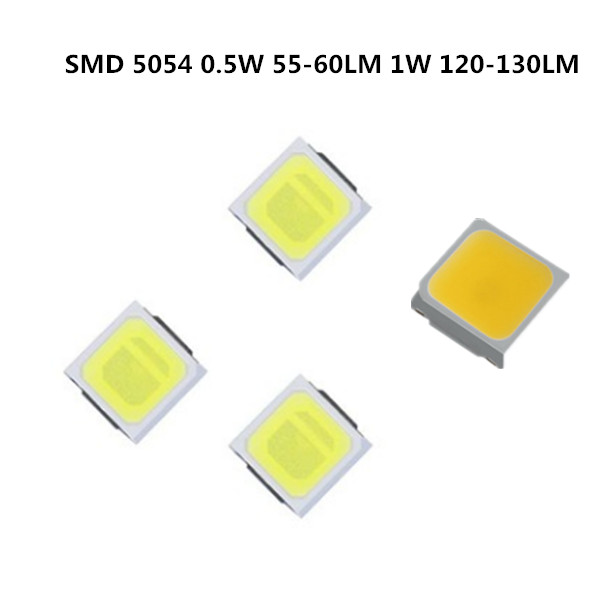 105pcs-1050PCS> SMD LED 5054 Chips 0.5W 60LM 1W 3V 6V Beads Light White 1W 120LM Surface Mount PCB LED Light Emitting Diode Lamp