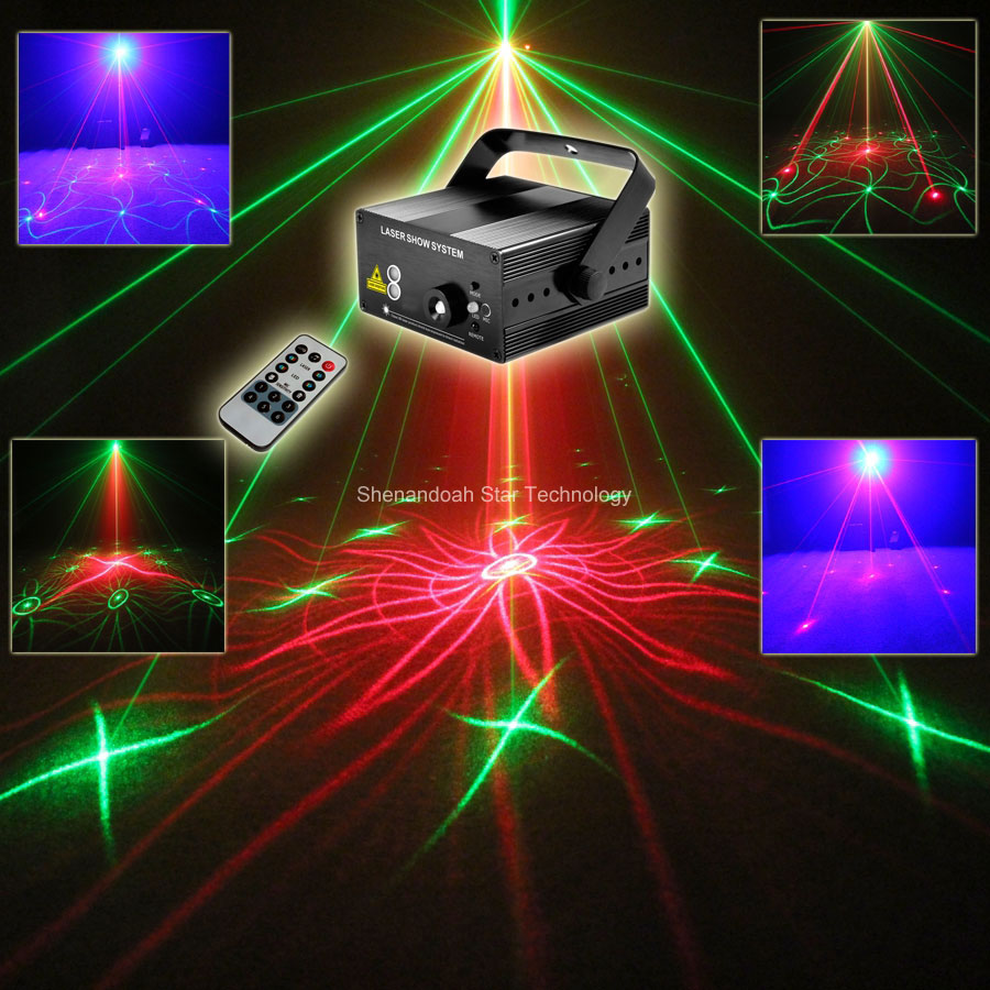 New Model Mini Blue Led Red Green 18 Patterns Laser Projector Remote DJ Lighting Dance Xmas Bar Disco Home Party Light Show L18 rg mini 3 lens 24 patterns led laser projector stage lighting effect 3w blue for dj disco party club laser