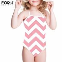 FORUDESIGNS One Piece Swimsuits Children Swimwear 3D Geometry Printing Girls Kids Swimsuit Bathing Suit Summer Swimming