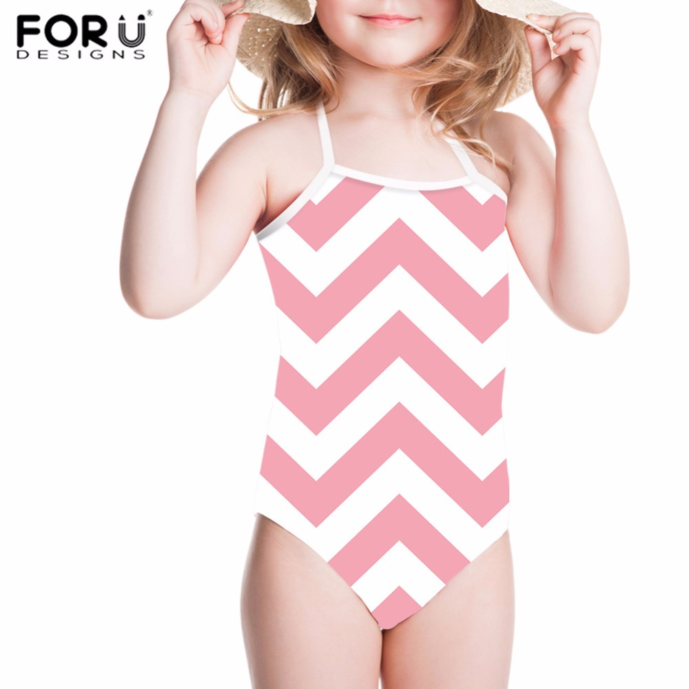 FORUDESIGNS One Piece Swimsuits Children Swimwear 3D Geometry Printing Girls Kids Swimsuit Bathing Suit Summer Swimming Suits forudesigns one piece swimsuit for girls children swimwear friuts strawberry printing bathing suit baby bikinis kids swim suits