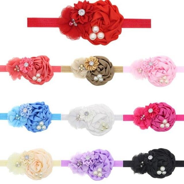 Aliexpress.com: Comprar 10 colores bebé Niñas Rose flor Bandas para ...