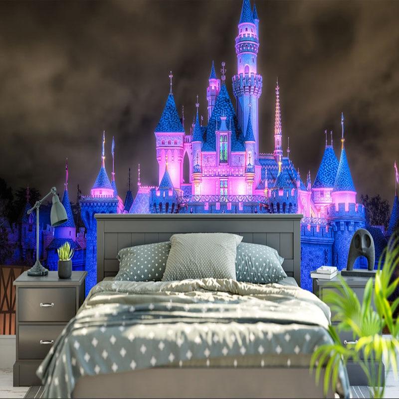 Custom Mural Wallpaper 3D Light Night Scene Fairy Tale Castle Photo Wall Paper For Wall Cartoon Kids Bedroom Backdrop Wall Decor