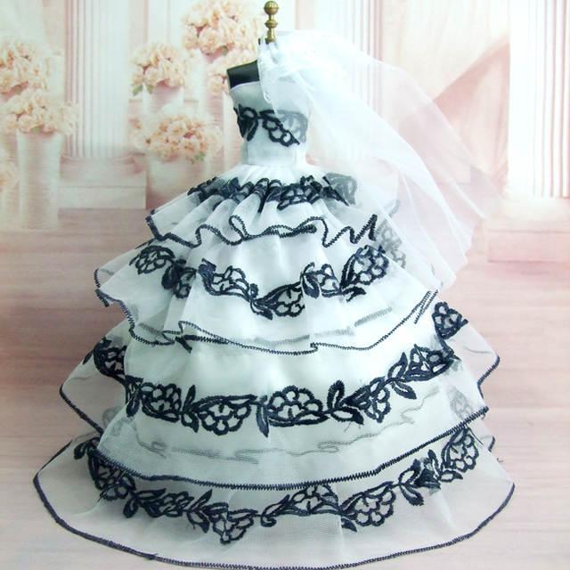82ffb72e09246 Embroidery princess white red black wedding dress for Barbie doll princess  bride dress