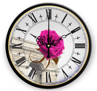 Pink Rose Flower Rome Digital Clock Retro Living Room Wall Clock Creative Brief Decoration Mute Frame