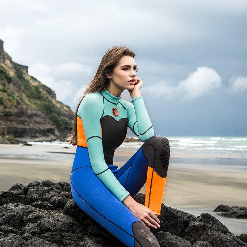 1.5mm néoprène combinaison femmes 2017 Protection solaire extérieure Surf chaud combinaison de plongée femme à manches longues maillot de bain une pièce combinaisons humides - 3