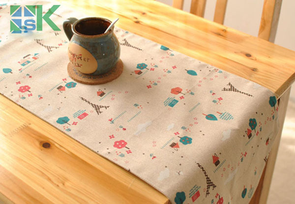 Sk Table Runner Past Style Linen Cloth Minimalist Modern Bedside Sided Flag