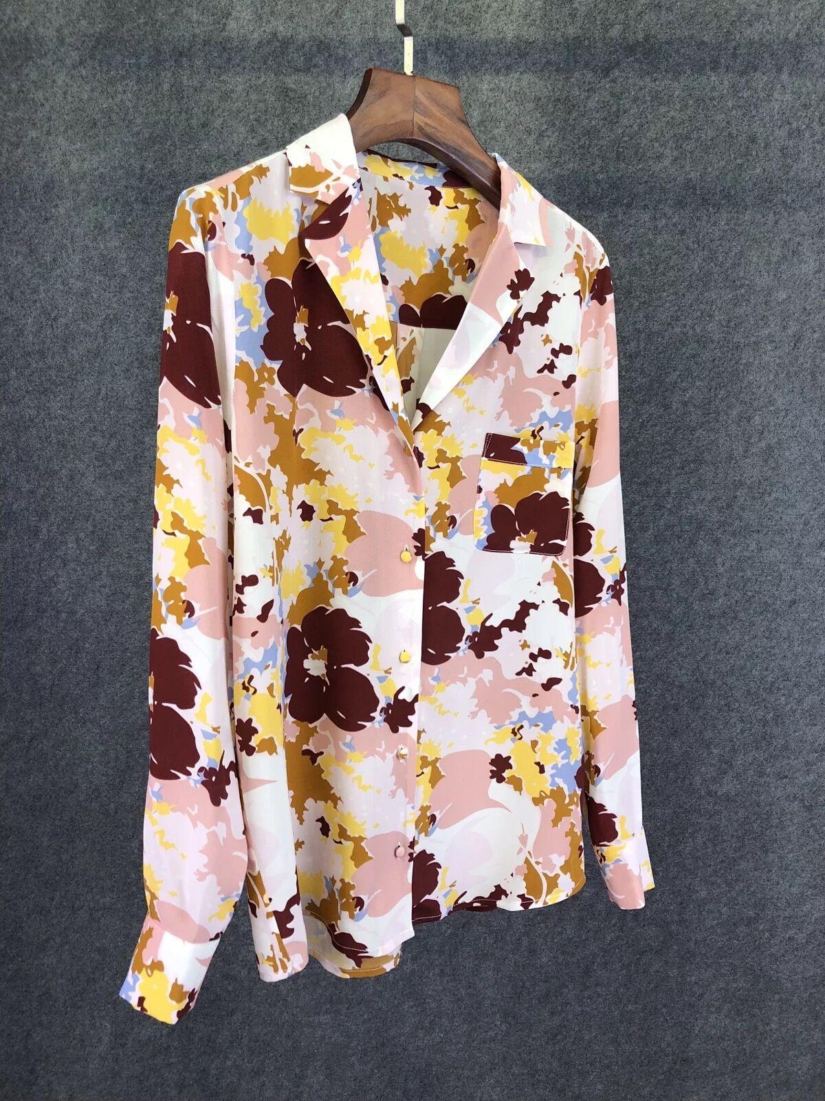 Woman Shirt Spring Summer Flower Print Silk Shirt