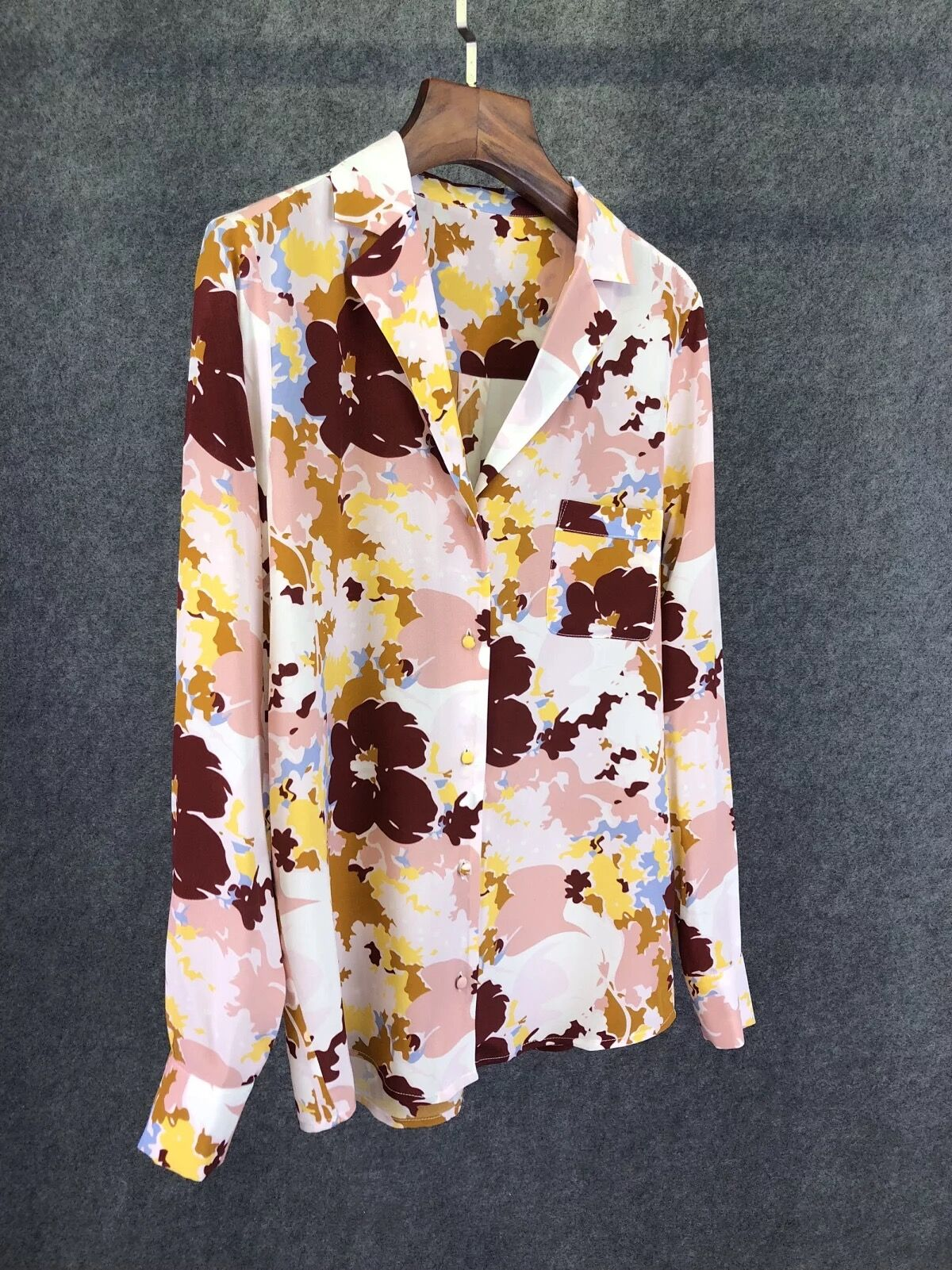 Woman Shirt Spring Summer Flower Print Silk Shirt-in Blouses & Shirts from Women's Clothing    1