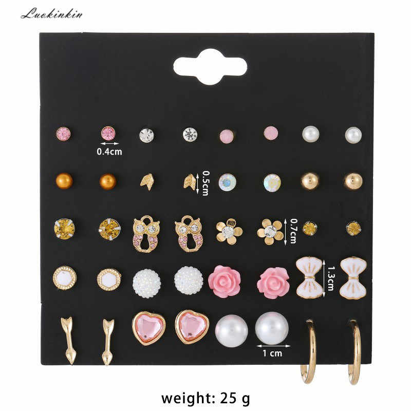 20 pairs pearl earnails and six-claw zircon stud earrings 2019 inlaid rhinestone temperament earings fashion jewelry for women