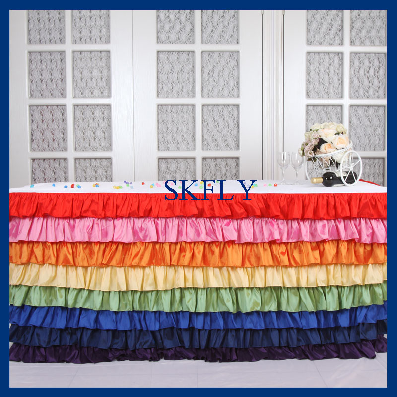 SK002M elegant 6ft rectangle taffeta colorful rainbow ruffled layered table cloth with top or long tulle