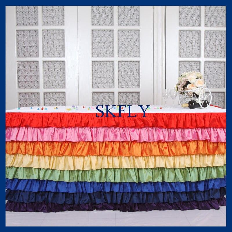 SK002M elegante 6ft rectángulo tafetán colorido arcoíris volantes capas mantel con la parte superior o larga falda de mesa de tul-in Manteles from Hogar y Mascotas    1