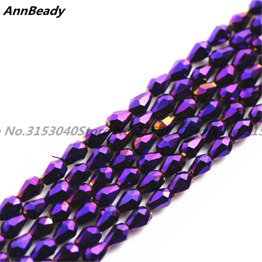 100pcs Pated Purple Color 3*5mm Teardrop shape Loose Austria Crystal waterdrop Beads For Jewelry DIY Making