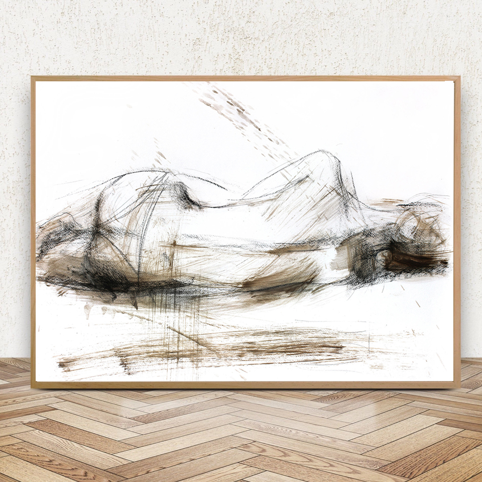 Us 5 74 25 offnude sketch woman posters and prints bedroom wall decoration wall art print modern sexy female art canvas painting framed decor in