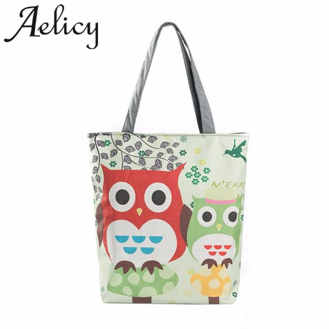 Aelicy Girl Handbags Owl Printed Canvas Tote Casual Beach Bags Women Shopping Bag for women 2019 bolsa feminina drop ship  HOTAelicy Girl Handbags Owl Printed Canvas Tote Casual Beach Bags Women Shopping Bag for women 2019 bolsa feminina drop ship  HOT