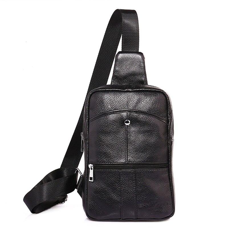 Men New High Quality First Layer Cowhide Sling Chest Back Pack Travel Riding Sling Cross Body Messenger Shoulder Bag стоимость