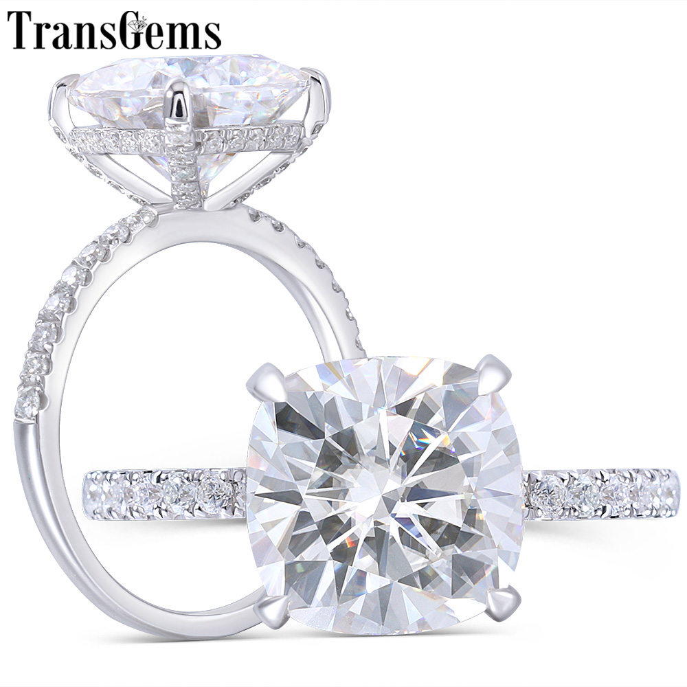 Transgems 14K White Gold 4 5CT 10MM Cushion Cut FG Color Moissanite Under Halo Engagement Ring with Half Eternity Band For Women in Rings from Jewelry Accessories
