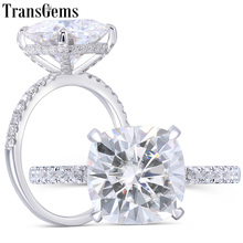цены Transgems 14K White Gold 4.5CT 10MM Cushion Cut FG Color Moissanite Under Halo Engagement Ring with Half Eternity Band For Women